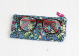 Strawberry thief patterned blue glasses case