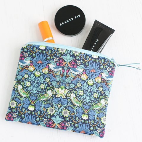 Blue bird print & vegan leather makeup bag