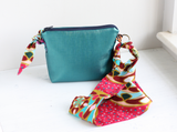 Green vegan leather cross body bag with Ankara fabric strap