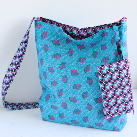 Turquoise Ankara fabric Eco friendly bag