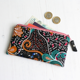 Black Ankara floral print purse