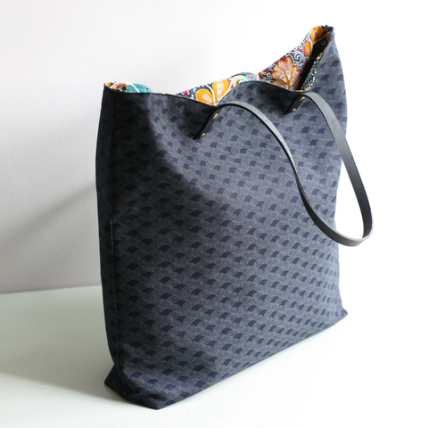 Black Japanese fabric tote bag with leather handles