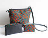 Green & orange Geo print, Ankara coin purse