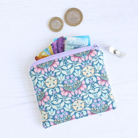 Liberty fabric & silver coin purse