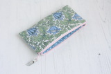 Green floral fabric purse