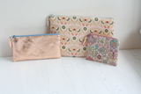 Pink fabric & rose gold leather makeup bag