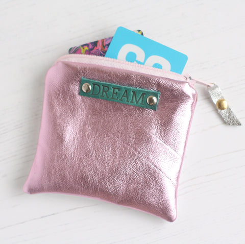 pink and silver leather dream purse