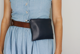 Navy leather bum bag with Liberty fabric purse (no belt)