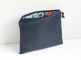 Navy leather bum bag with Liberty floral purse (no belt)