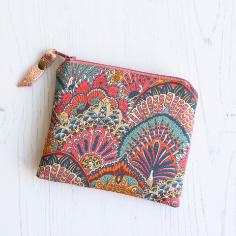 Pink peacock print Liberty fabric coin purse