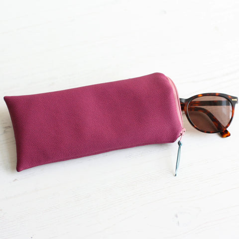 Pink vegan leather glasses case