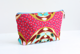 Pink Ankara toiletry bag with wipe clean lining