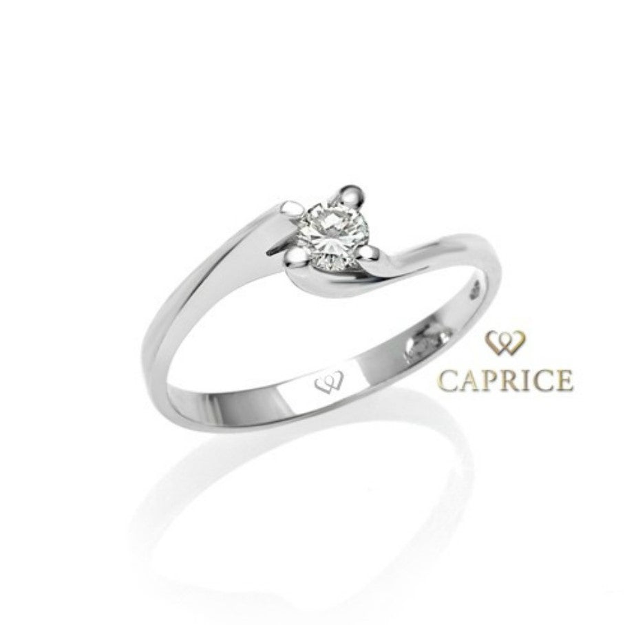 Solitaire engagement ring, 18ct white gold, with 0.15ct diamond