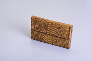 Lenny Wallet - Green Croco & Brown