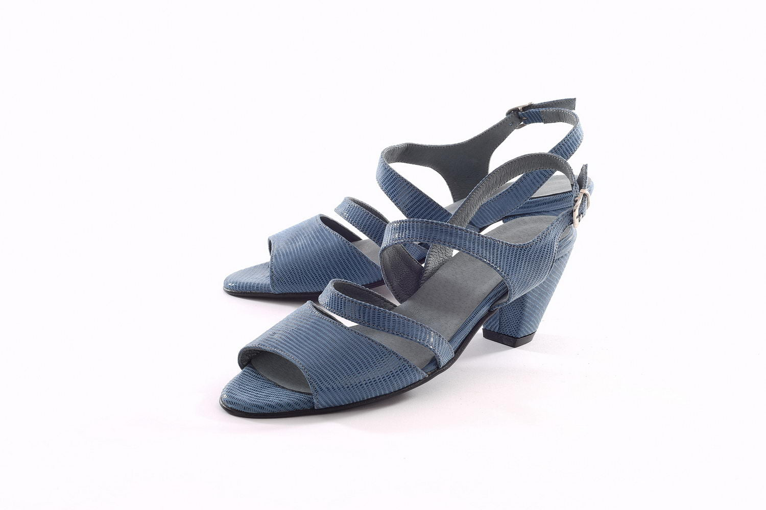 May Heeled Sandals - Shiny Blue