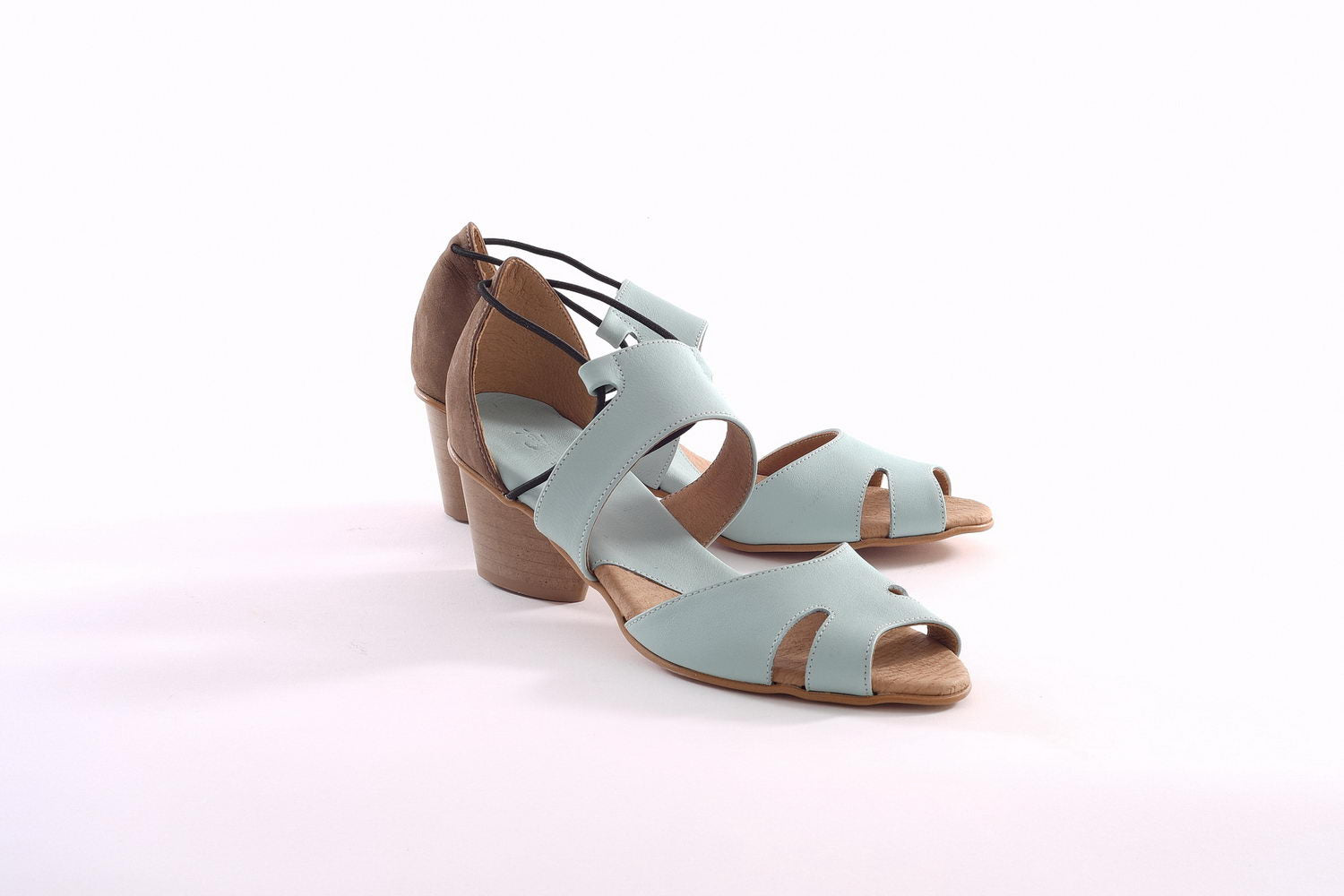 Mary Sandals - Pale Blue & Brown
