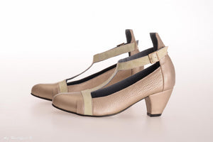 Clara Heeled Shoes - Gold & Green
