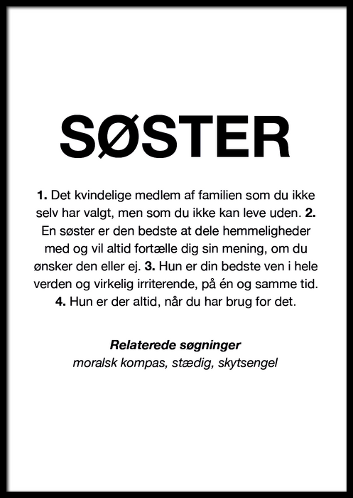 SØSTER DEFINITION PLAKAT 🤷‍♀️