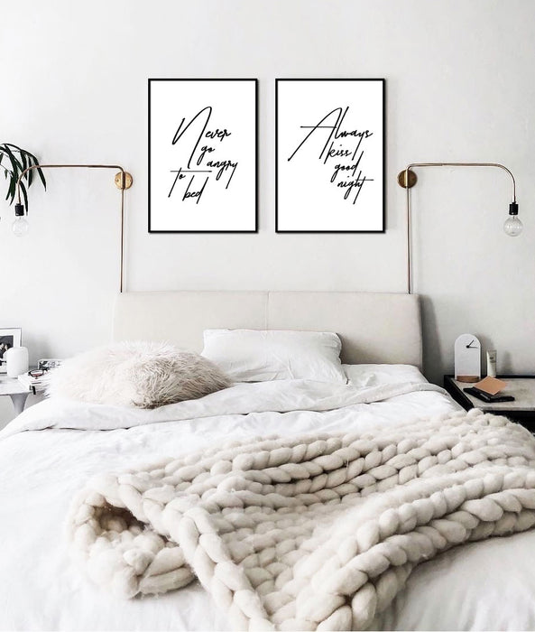 NEVER GO ANGRY TO BED PLAKAT 🛏️