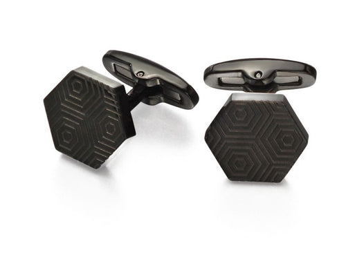 Black Etched Hexagonal Cufflinks