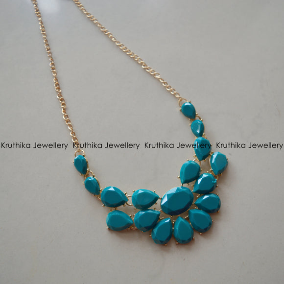 Turquoise Tear Drop Stone Necklace