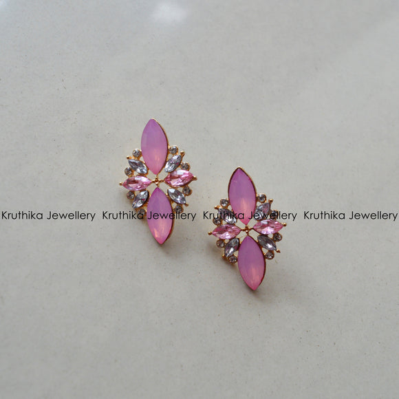 Pink Oval Stone Studs