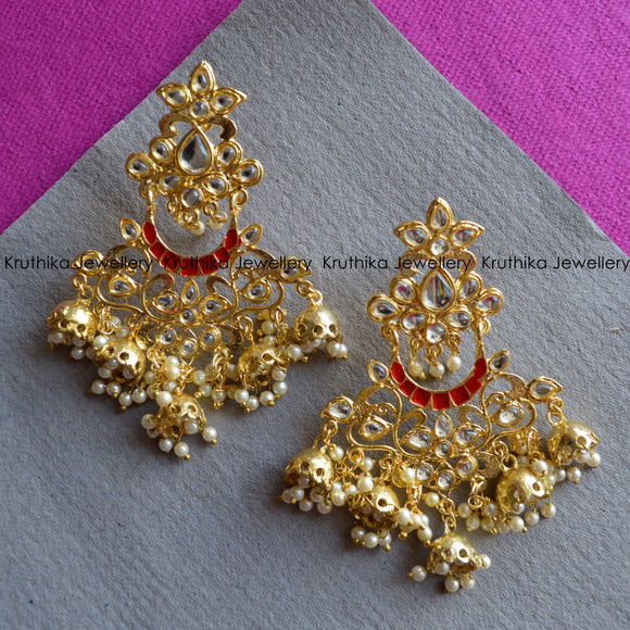 Kundan Five Jhumka Drop Earrings
