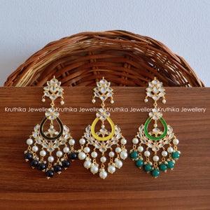 Long Kundan Beads Danglers