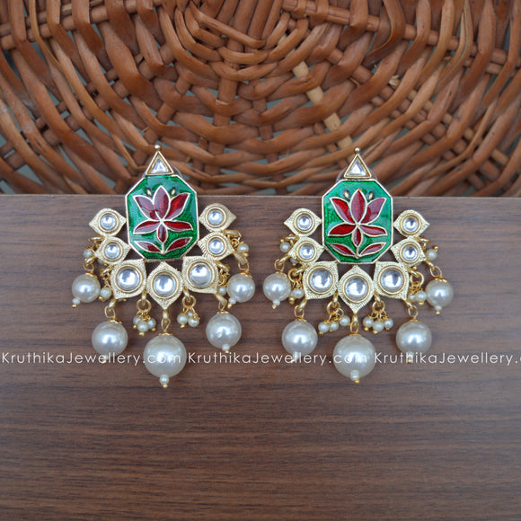 Lotus Enamel Pearl Earrings