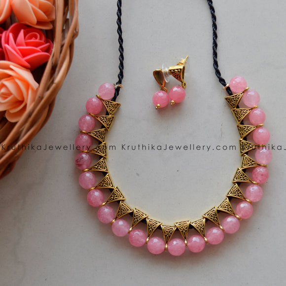 Light Pink Beads Necklace set