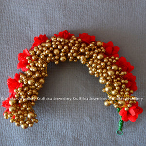 Red Rose-Golden Beads Gajra (Veni)