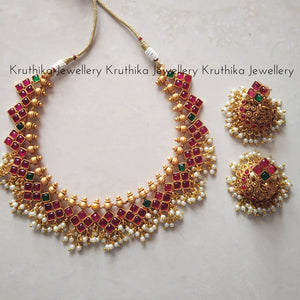 Ruby pearl drops necklace set