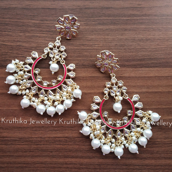 Long Kundan pearl danglers