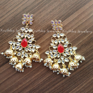 Long Kundan 5 Jhumka drops earrings