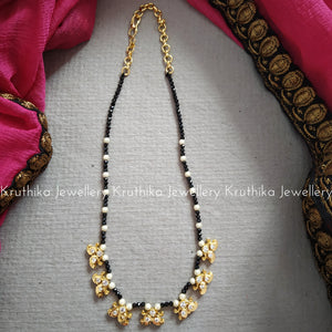 Crystal beads maala with cz pendants - Design 1