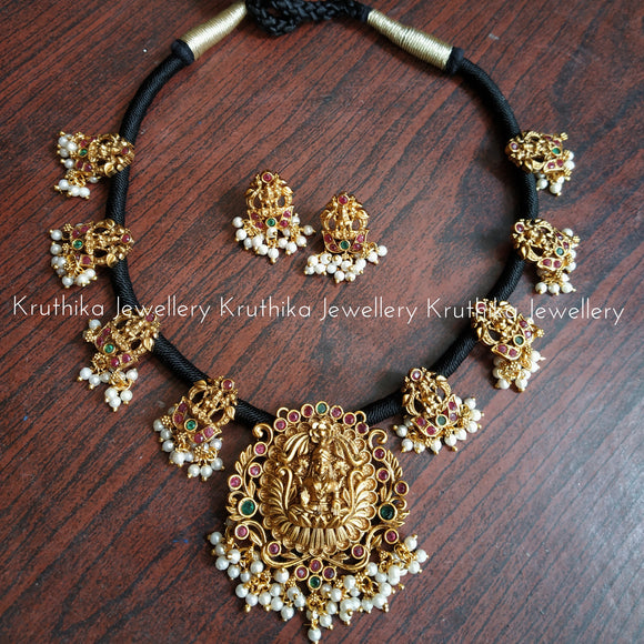 Black Thread Necklace set with Lakshmi Devi pendant