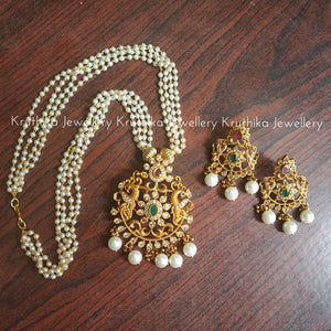 Pearls maala with pendant set