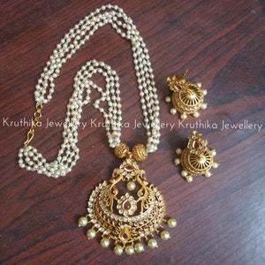 Pearls Haaram With Pendant Jhumkas Set Design 1