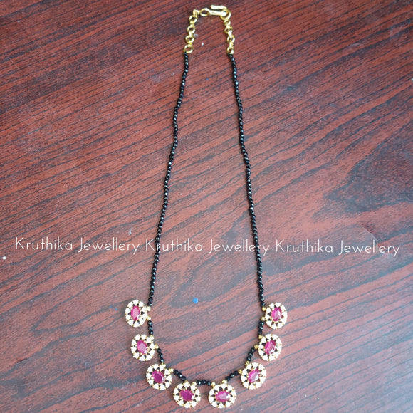 Crystal beads maala with Ruby pendants