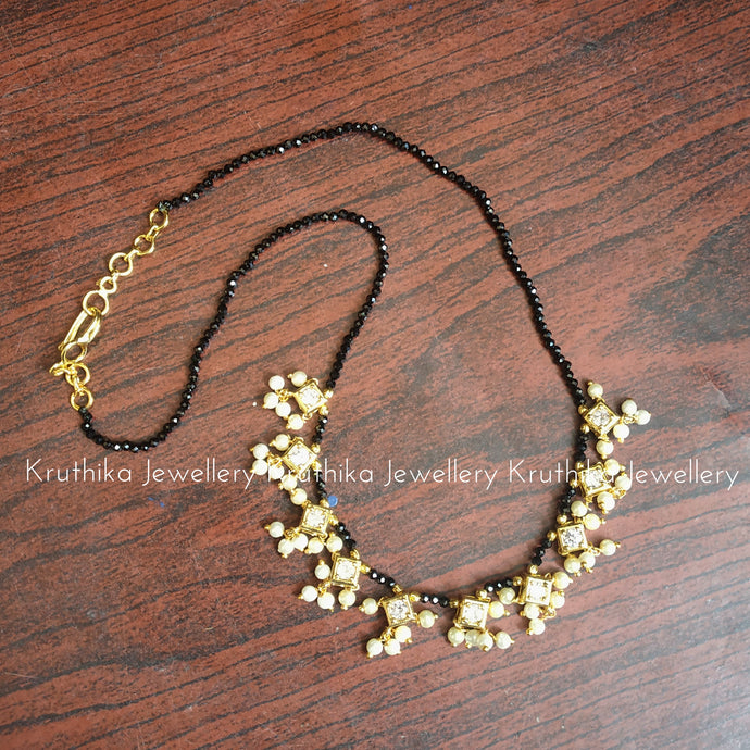 Crystal beads maala with CZ pearl drop pendants