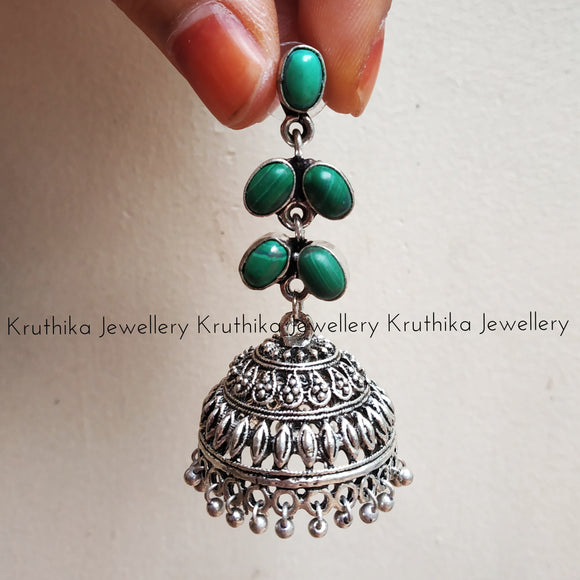 Green stone German silver Jhumkas