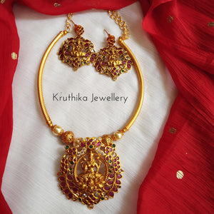 Simple Necklace With Lakshmi Devi Pendant