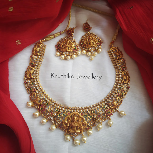 Matte CZ Lakshmi Devi Necklace set