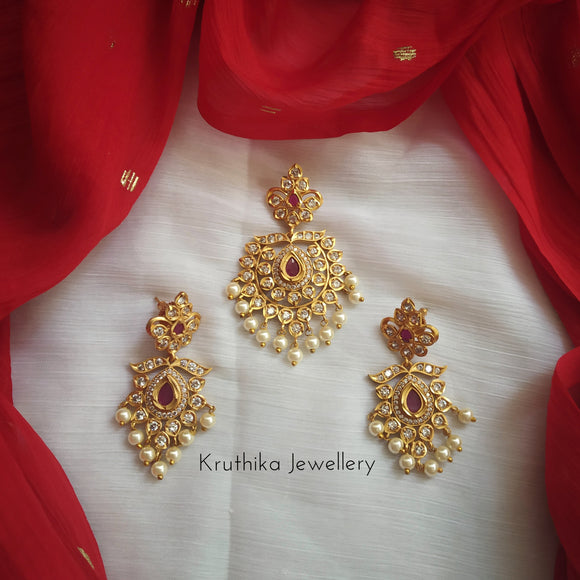 CZ pendant earrings set