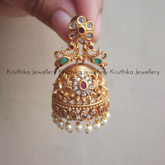 Peacock Cutwork Jhumkas