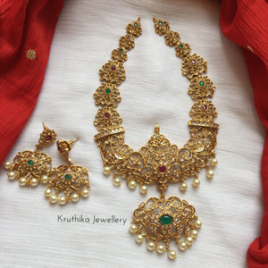 AD multi stone cutwork necklace set