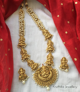 Ganesha haaram with cluster pearl chain LH95
