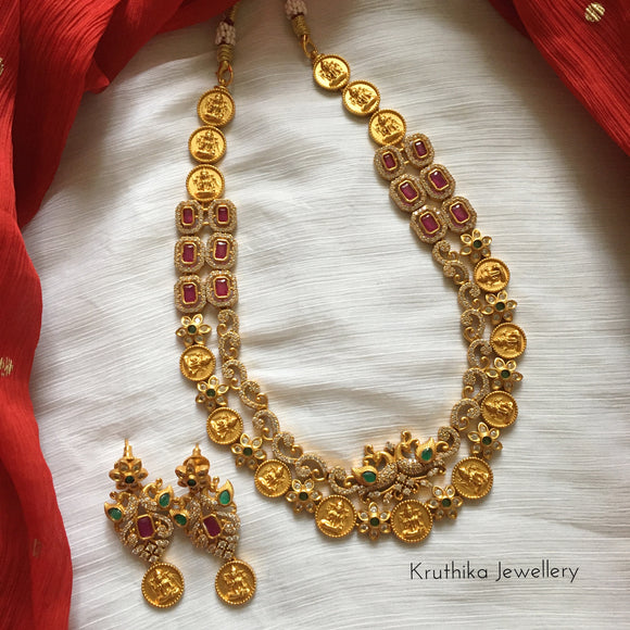 Two layer kasu AD necklace set NC31