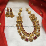 Statement Kasu and stones Goddess necklace set NC2
