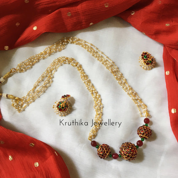 Pearls maala with big rudraksha pendants